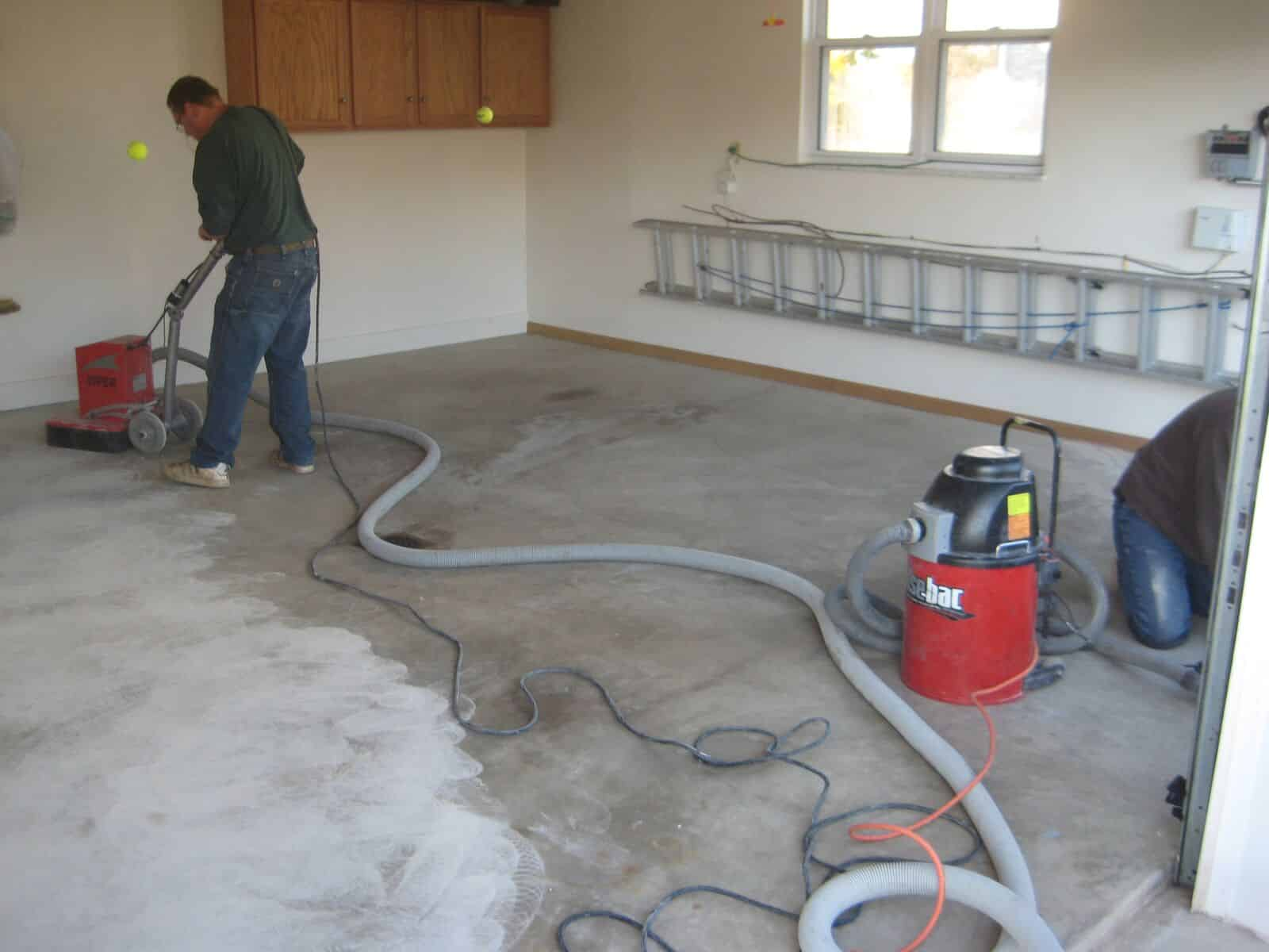 concrete grinding before a garage coating installation